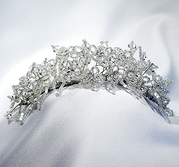 halo of crystal and pearl tiara