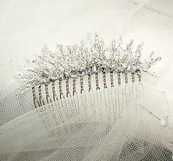 wedding hair comb of crystal