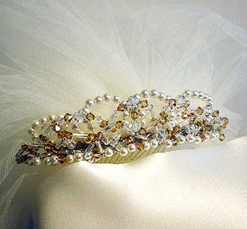 bridal headpiece of peals and crystal