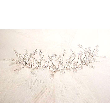 delicate crystal wedding tiara